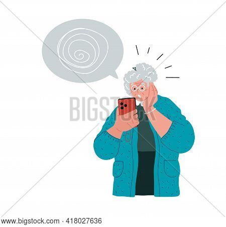 Grandma Have Problems With Her Cell Phones.vector Illustration, Concept.
