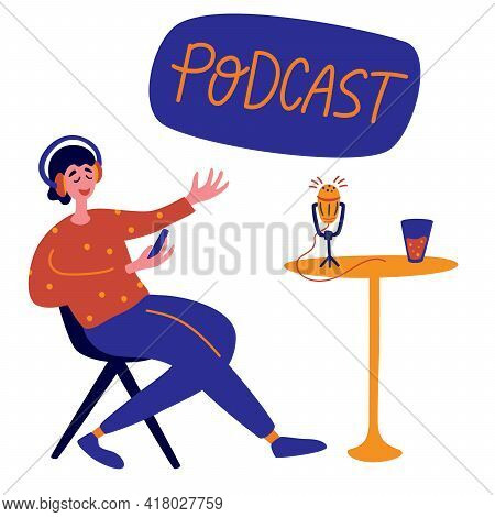 Radio Host With Table Flat Vector Illustration. Joyful Person Radio Host Interviewing Guest, Mass Me