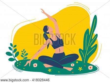 Woman Does Yoga Exercise, Yoga Pose. The Concept Of Outdoor Yoga. Yoga Classes In Nature. Healthy Li