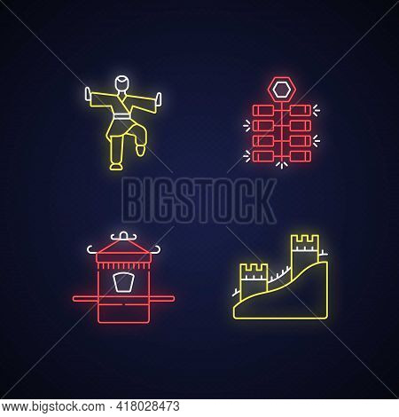 Traditional China Neon Light Icons Set. Chinese Firecrackers. Kung Fu. Great Chinese Wall. Asian Cul