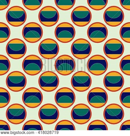 Geometric Pattern For Fabric Or Packaging Made Of Multicolored Circles On A Beige Background