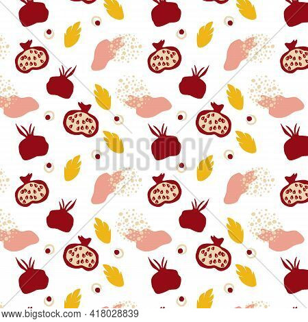 Seamless Pattern With Pomegranates. Decorative Modern Aesthetic Pattern. Ripe Pomegranate And Leaves
