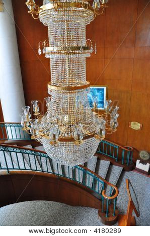 Contemporary Glass Chandelier Staircase