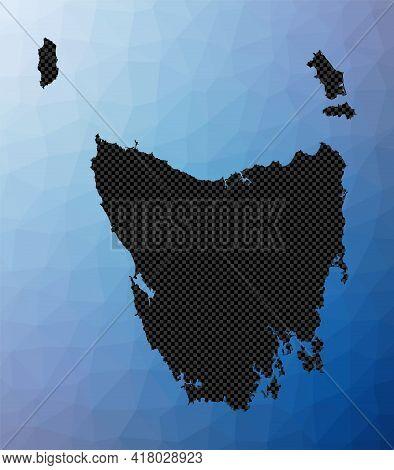 Tasmania Geometric Map. Stencil Shape Of Tasmania In Low Poly Style. Classy Island Vector Illustrati