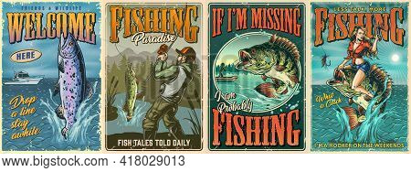 Vintage Fishing Colorful Posters With Perch Fish Rainbow Trout Jumping Out Of Water Fisherman Caught