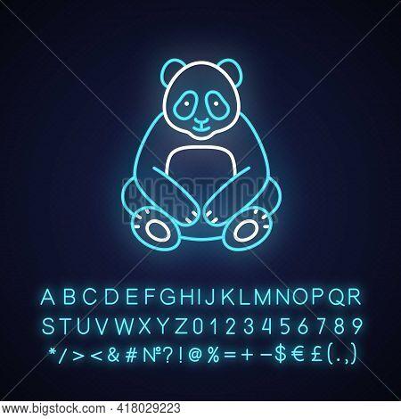Big Panda Neon Light Icon. Traditional Chinese Animal. Beijing Zoo. Wildlife, Zoology. Bear Sit. Out