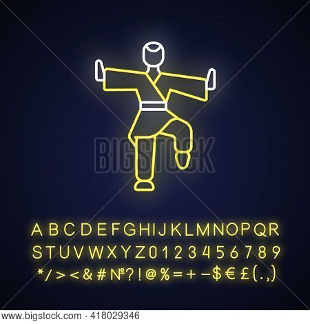 Kung Fu Neon Light Icon. Martial Arts Training. Karate Class. Traditional Fighting. Outer Glowing Ef