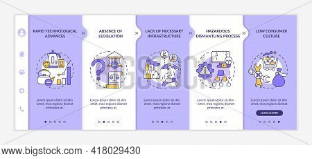 Electronic Waste Manage Onboarding Vector Template. Responsive Mobile Website With Icons. Web Page W