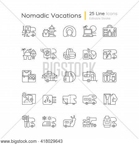 Nomadic Vacations Linear Icons Set. Roadtrip Trailer. Rv Vehicle. Van For Tourist Lifestyle. Customi