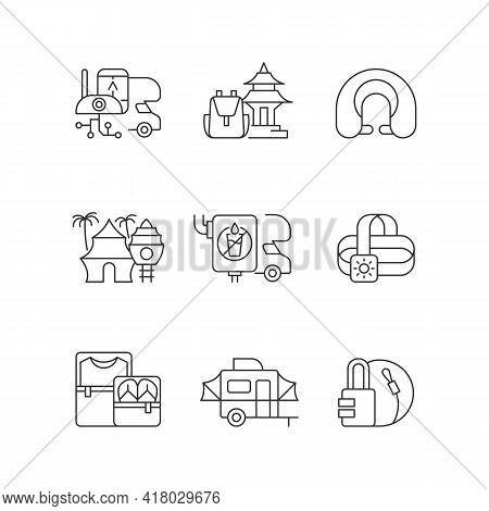 Roadtrip Linear Icons Set. Travel Equipment. Spiritual Nomad. Resort For Tourists. Recreational Geta