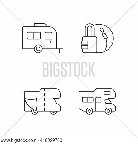 Trailer For Van Lifestyle Linear Icons Set. Cover Sheet For Rv. Campground For Vans. Travel Lock. Cu