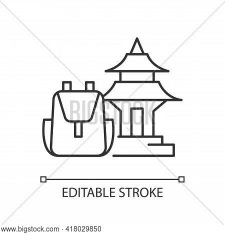 Spiritual Nomad Linear Icon. Trip To Shrine For Spirituality. Visit Holy Place. Asian Landmark. Thin