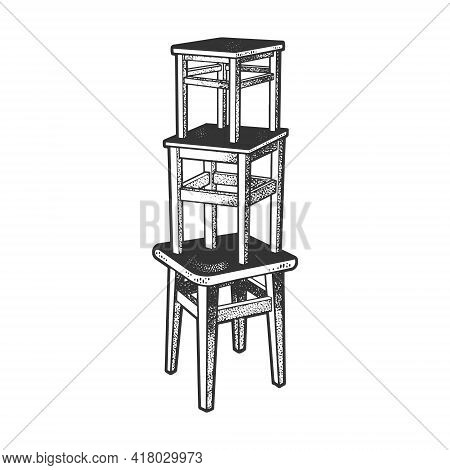 Stool Tower Sketch Engraving Vector Illustration. T-shirt Apparel Print Design. Scratch Board Imitat