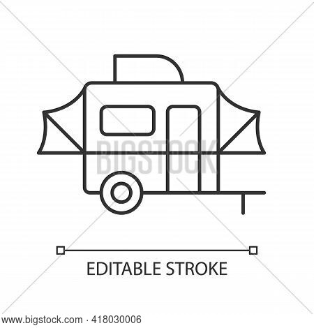 Pop Up Camper Linear Icon. Campground For Tourist. Recreational Vehicle. Nomadic Lifestyle. Thin Lin
