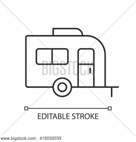 Caravan Linear Icon. Trailer For Nomads Lifestyle. Roadtrip Transportation. Camping For Traveler. Th