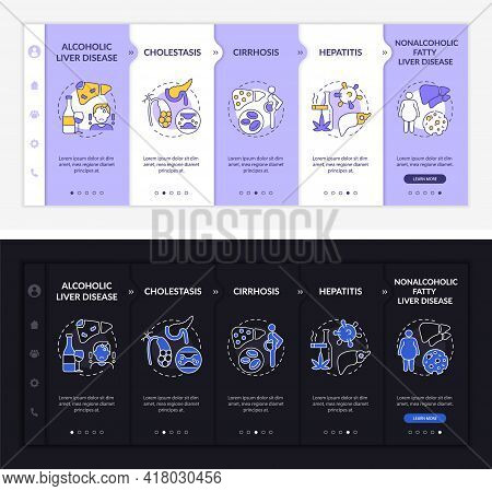 Hepatic Illness Types Onboarding Vector Template. Responsive Mobile Website With Icons. Web Page Wal