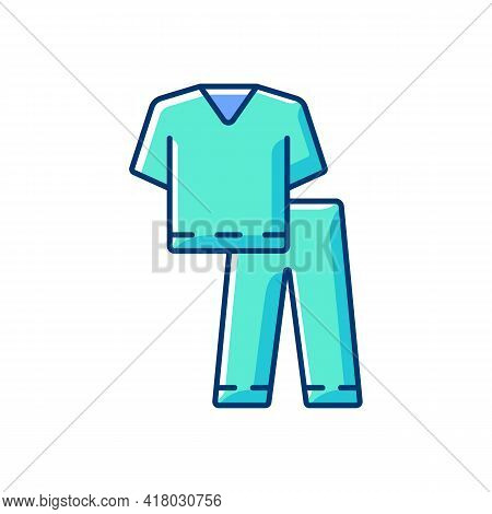 Scrub Suit Rgb Color Icon. Top And Trousers For Nurse. Suit To Work In Clinic. Protective Wear For H