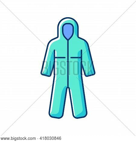 Medical Coveralls Rgb Color Icon. Protective Wear From Dangerous Contamination. Suit For Laboratory.