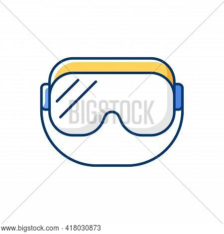 Medical Goggles Rgb Color Icon. Medical Equipment For Eye Protection. Protective Wear For Work In La