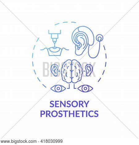 Sensory Prosthetics Concept Icon. Rehab Engineering Idea Thin Line Illustration. Restoring Sensation