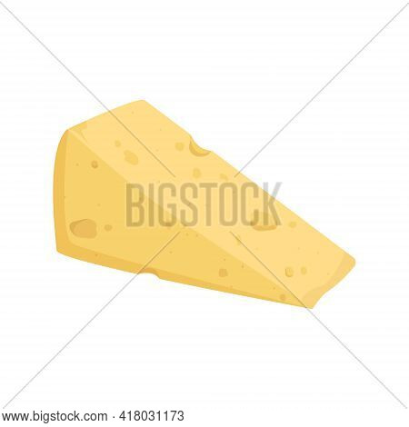 Yellow Cheese Icon With Holes. Delicious Healthy Snack. Dairy Products, A Source Of Calcium. Vector