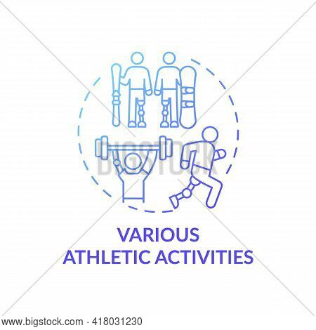 Various Athletic Activities Concept Icon. Lower-limb Prostheses Idea Thin Line Illustration. Ligamen