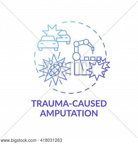 Trauma-caused Amputation Concept Icon. Amputation Cause Idea Thin Line Illustration. Burns And Elect