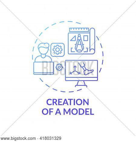 Model Creation Concept Icon. Artificial Limb Manufacture Idea Thin Line Illustration. 3d Modeling. R