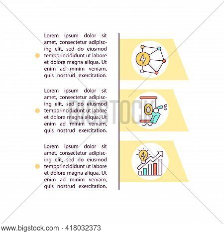 Economic Growth Concept Line Icons With Text. Ppt Page Vector Template With Copy Space. Brochure, Ma