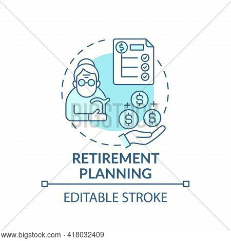 Retirement Planning Concept Icon. Wealth Management Idea Thin Line Illustration. Financial Planning.