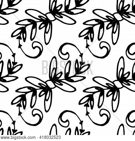 Doodle Pattern Twig Curl In Line Art Style On White Background. Seamless Pattern Black Background. B