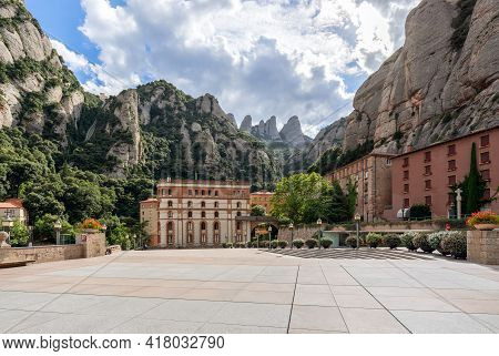 Montserrat, Barcelona - Spain. July 15, 2020: View Of The Square In Front Of Abbey Of Montserrat (sa