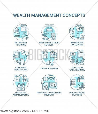 Wealth Management Concept Icons Set. Financial Planning Idea Thin Line Rgb Color Illustrations. Esta