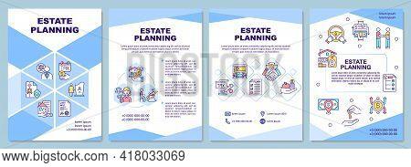 Estate Planning Brochure Template. Financial Assets. Flyer, Booklet, Leaflet Print, Cover Design Wit