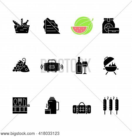 Picnic Black Glyph Icons Set On White Space. Heaving Picnic Hamper. Ham And Cheese Sandwich. Waterme