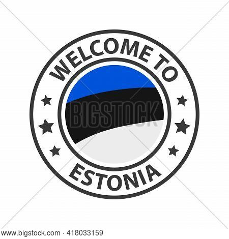 Welcome To Estonia. Collection Of Welcome Icons. Stamp Welcome To With Waving Country Flag