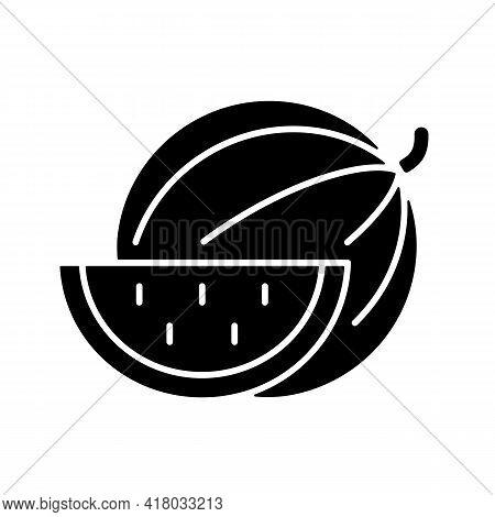 Watermelon Black Glyph Icon. Serving Fruit For Picnic. Low-calorie Treat. Body Detoxification. Fight
