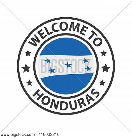 Welcome To Honduras. Collection Of Welcome Icons. Stamp Welcome To With Waving Country Flag