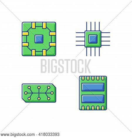 Microcircuits Rgb Color Icons Set. Computer Device Ports For Connecting Devices. Stable Connection B