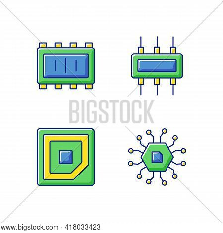 Microcircuits Rgb Color Icons Set. Cpu Corner Marking For Placing Device. Electronic Parts Creation