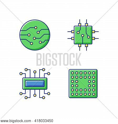 Microcircuits Rgb Color Icons Set. Cpu Computer Motherboard Socket Types. Circuit Board Components C