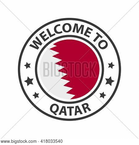Welcome To Qatar. Collection Of Welcome Icons. Stamp Welcome To With Waving Country Flag