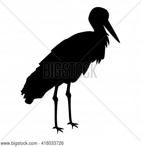 Silhouette Stork Bird Standing Crane Heron Black Color Vector Illustration Flat Style Simple Image