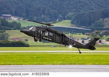 Zeltweg, Austria - September 6, 2019: Austrian Air Force Sikorsky S-70 Uh-60 Black Hawk 6m-bb Flying
