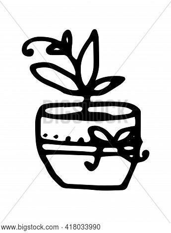 Modern Hand Drawn Card With Black Doodle Twig Curl Pot On White Background. Hand Drawn Illustration.