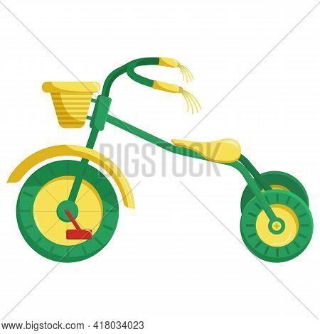 Vector Clip Art Children's Tricycle. Children's Bike Is Green. A Bright Illustration For Children's