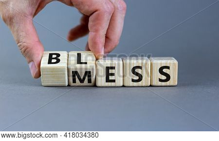Bless Mess Symbol. Businessman Turns The Cube And Changes The Word 'mess' To 'bless'. Beautiful Grey