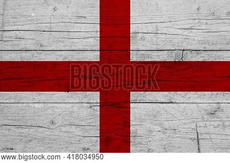 Flag Of England. Wooden Texture Of The Flag Of England.
