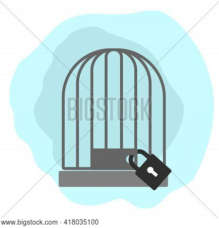 Birdcage With A Large Padlock On A Clean Background