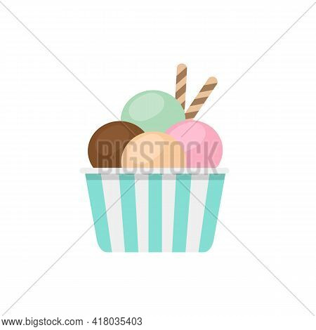 Ice Cream Scoops In Striped Paper Cups Isolated On White Background.  Ice Cream Cup In Flat Style. V
